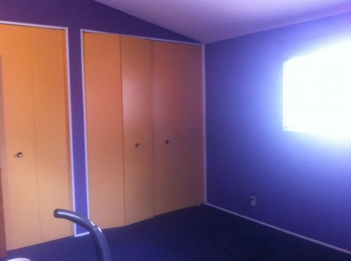 The deep dark eggplant purple walls and carpet with accenting yellow closet doors.