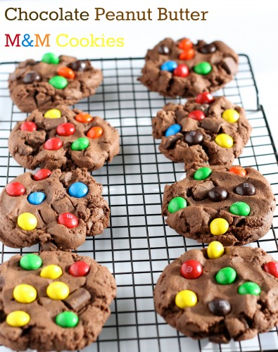 Chocolate Peanut Butter M&M Cookies