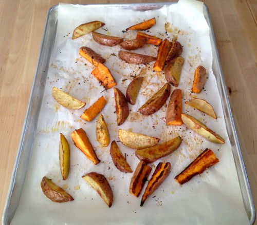 Rosemary Garlic Roasted Sweet Potatoes
