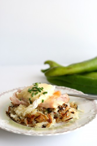 Hatch Chile Hashbrown Eggs Benedict