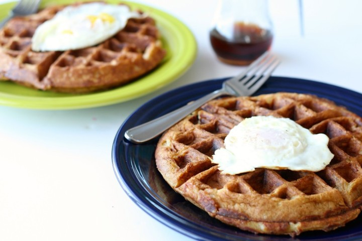 Sausage and Cheese Filled Beer Waffles