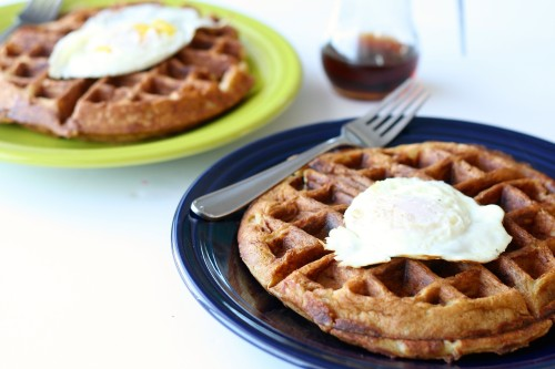 Sausage and Cheese Beer Waffles