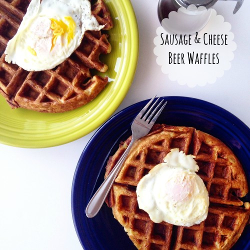 Sausage & Cheese Beer Waffles: A delightfully savory waffle perfect for breakfast or dinner!