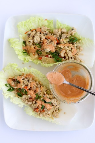 Asian Chicken Wraps with Spicy Cashew Sauce