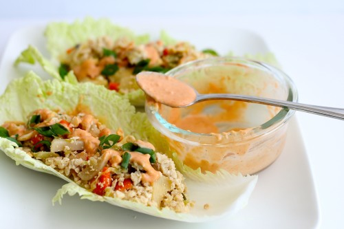 Asian Chicken Napa Wraps with Spicy Cashew Sauce