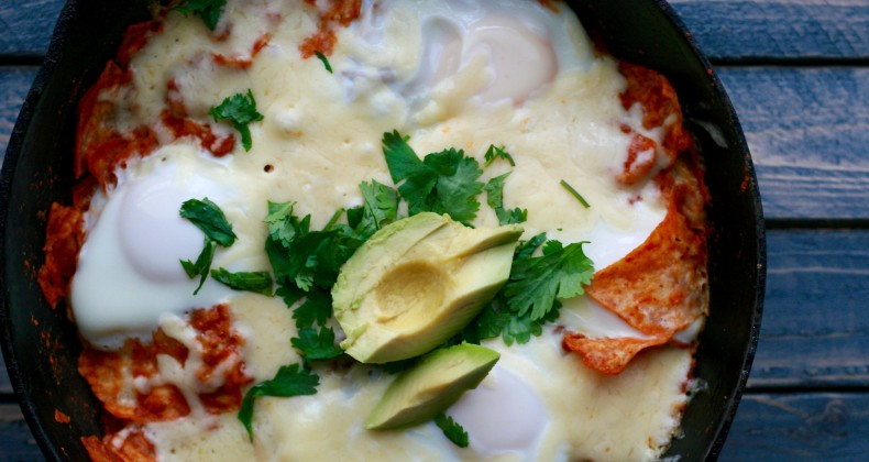 Chilaquiles and Eggs --a delicious gluten free breakfast or brunch using leftover tortillas.