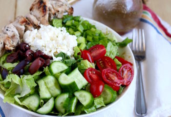 Greek Salad and Chicken Kebabs