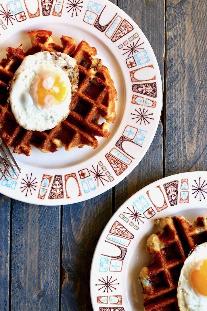 cornbread sausage cheddar waffles